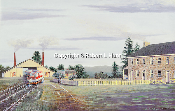 """Lemon House and Engine House #6 on the Allegheny Portage Railroad at Cresson, PA, part of the Pennsylvania Canal system. Available as a 12' x 19"""" limited edition fine art lithograph."""