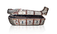 "Ancient Egyptian wooden sarcophagus - the coffin of Puia circa 1800BC - Thebes Necropolis. Egyptian Museum, Turin. white background<br /> <br /> From about 100BC ""anthropoid "" sarcophagi with fihure shaped lids started to replace rectangular coffins. Pia was probably the son of Puyemre, a high official of Thebes and second priest of Amon under the woman pharoah, Hatshepsut (1479-1458). The sarcophagus was excavated by Robert Mond from a shaft grave found close to the tomb of Puyemre in Thebes Necropolis."