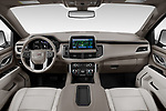Stock photo of straight dashboard view of 2021 GMC Yukon-XL SLT 5 Door SUV Dashboard