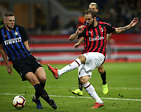 Calcio, Serie A: Inter Milano - AC Milan , Giuseppe Meazza stadium, .October 21, 2018.<br /> Milan's Gonzalo Higuain (r) in action with Inter's Milan Skriniar (l) during the Italian Serie A football match between Inter and Milan at Giuseppe Meazza (San Siro) stadium, October 21, 2018.<br /> UPDATE IMAGES PRESS/Isabella Bonotto