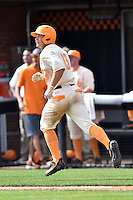 Tennessee Volunteers third baseman Nick Senzel (13) rounds the bases after hitting a home run during game one of a double header against the UC Irvine Anteaters at Lindsey Nelson Stadium on March 12, 2016 in Knoxville, Tennessee. The Volunteers defeated the Anteaters 14-4. (Tony Farlow/Four Seam Images)