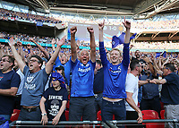 19th May 2018, Wembley Stadium, London, England; FA Cup Final football, Chelsea versus Manchester United; Chelsea fans celebrate after the final whistle as they win 1-0