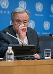 Secretary-General António Guterres in rear press conference of 2018 with journalist at United Nations