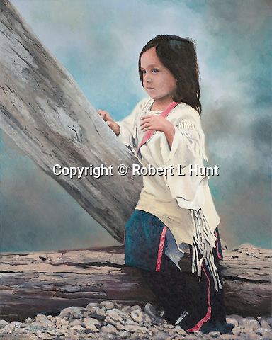 """A young Sioux girl looks on pensively with her attention captured, a Native American child portrait. Oil on canvas, 20"""" x 16""""."""