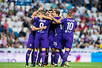 Jordan Veretout of ACF Fiorentina celebrates scoring with teammates during the Santiago Bernabeu Trophy 2017 match between Real Madrid and ACF Fiorentina at the Santiago Bernabeu Stadium on 23 August 2017 in Madrid, Spain. Photo by Diego Gonzalez / Power Sport Images