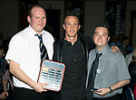 St Johnstone FC Player of the Year Awards 2017-18<br />Auchterarder Clubman of the Year is Chris Millar presented by Gareth Parry (left) and Kevin Mallis<br />Picture by Graeme Hart.<br />Copyright Perthshire Picture Agency<br />Tel: 01738 623350  Mobile: 07990 594431