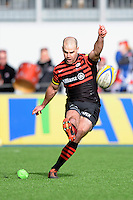 20130303 Copyright onEdition 2013©.Free for editorial use image, please credit: onEdition..Charlie Hodgson of Saracens takes a kick during the Premiership Rugby match between Saracens and London Welsh at Allianz Park on Sunday 3rd March 2013 (Photo by Rob Munro)..For press contacts contact: Sam Feasey at brandRapport on M: +44 (0)7717 757114 E: SFeasey@brand-rapport.com..If you require a higher resolution image or you have any other onEdition photographic enquiries, please contact onEdition on 0845 900 2 900 or email info@onEdition.com.This image is copyright onEdition 2013©..This image has been supplied by onEdition and must be credited onEdition. The author is asserting his full Moral rights in relation to the publication of this image. Rights for onward transmission of any image or file is not granted or implied. Changing or deleting Copyright information is illegal as specified in the Copyright, Design and Patents Act 1988. If you are in any way unsure of your right to publish this image please contact onEdition on 0845 900 2 900 or email info@onEdition.com