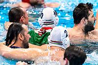 Celebration Hungary<br />  <br /> Budapest 26/01/2020 Duna Arena <br /> Hungary (white caps) Vs. Spain (blue caps) Men<br /> Final<br /> XXXIV LEN European Water Polo Championships 2020<br /> Photo  ©Giorgio Scala / Deepbluemedia / Insidefoto