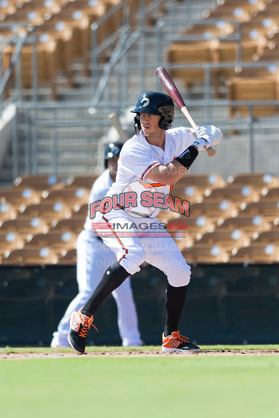 Glendale Desert Dogs third baseman Steve Wilkerson (12), of the Baltimore Orioles organization, at bat during an Arizona Fall League game against the Mesa Solar Sox at Camelback Ranch on October 15, 2018 in Glendale, Arizona. Mesa defeated Glendale 8-0. (Zachary Lucy/Four Seam Images)