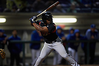 Lake Elsinore Storm second baseman Eguy Rosario (1) at bat during a California League game against the Rancho Cucamonga Quakes at LoanMart Field on May 19, 2018 in Rancho Cucamonga, California. Lake Elsinore defeated Rancho Cucamonga 10-7. (Zachary Lucy/Four Seam Images)