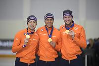 SPEEDSKATING: 13-02-2020, Utah Olympic Oval, ISU World Single Distances Speed Skating Championship, Team Sprint Men, Kai Verbij, Dai Dai Ntab, Thomas Krol, Team NED, ©Martin de Jong