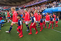PARIS,  - JUNE 16: Abby Dahlkemper #7, Julie Ertz #8,  and Lindsey Horan #9 enter the field during a game between Chile and USWNT at Parc des Princes on June 16, 2019 in Paris, France.