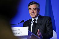 FRANCOIS FILLON, RENCONTRE AVEC LES ULTRAMARINS A PARIS, FRANCE, LE 29/03/2017.