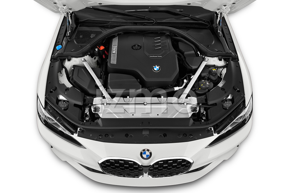 High angle engine detail of a 2021 BMW 4 Series Coupe 430i 2 Door Coupe