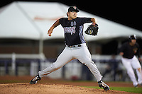 Wisconsin Timber Rattlers pitcher Luke Curtis (28) delivers a pitch during the second game of a doubleheader against the Quad Cities River Bandits on August 19, 2015 at Modern Woodmen Park in Davenport, Iowa.  Quad Cities defeated Wisconsin 8-1.  (Mike Janes/Four Seam Images)
