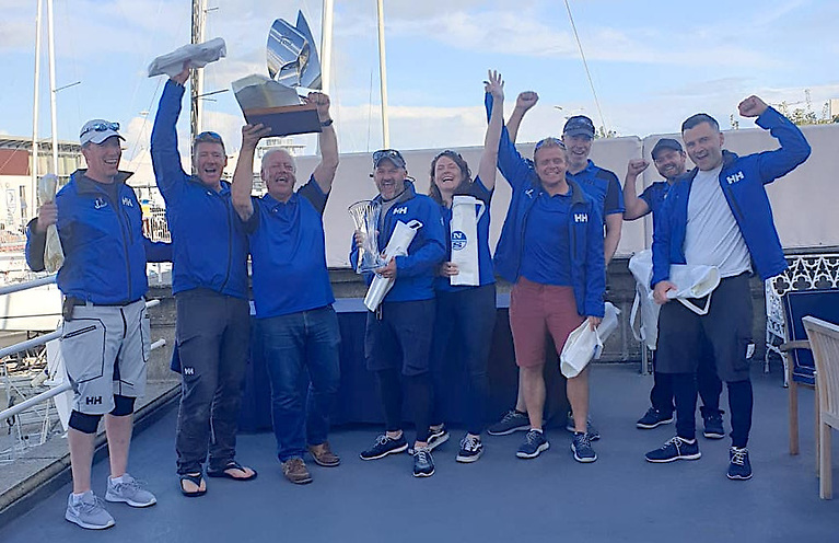 Five-time J/109 champions (from left to right) John White (upwind trim), Ron Verling (navigator), John Maybury (owner and helmsman), Malcolm Moir (bow), Michelle Fitzgerald (pit), Barry Byrne (downwind trim), Brian Phelan (sub), Teddy Byrne (sub), Nick Smyth (tactician) and Shane Keogh (mast) not pictured