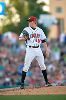 Indianapolis Indians starting pitcher Brandon Waddell (38) looks in for the sign during a game against the Rochester Red Wings on July 24, 2018 at Victory Field in Indianapolis, Indiana.  Rochester defeated Indianapolis 2-0.  (Mike Janes/Four Seam Images)