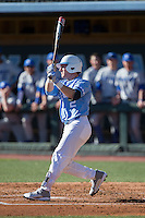 Adam Pate (2) of the North Carolina Tar Heels follows through on his swing against the Kentucky Wildcats at Boshmer Stadium on February 17, 2017 in Chapel Hill, North Carolina.  The Tar Heels defeated the Wildcats 3-1.  (Brian Westerholt/Four Seam Images)