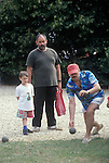 Eastleach Turville, Gloucestershire, England. Traditional village annual fete. Village bowls are played by some of the men from the village at the summer fete.