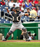 30 September 2009: New York Mets' catcher Omir Santos in action against the Washington Nationals at Nationals Park in Washington, DC. The Nationals rallied in the bottom of the 9th inning on a Justin Maxwell walk-off Grand Slam to win 7-4 and sweep the Mets' 3-game series, capping the Nationals' 2009 home season. Mandatory Credit: Ed Wolfstein Photo
