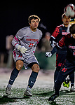 13 November 2019: University of Hartford Hawk Goalkeeper Jimmy Slayton, a Senior from Wethersfield, CT, in action against the University of Vermont Catamounts at Virtue Field in Burlington, Vermont. The Hawks defeated the Catamounts 3-2 in sudden death overtime of the Division 1 Men's Soccer America East matchup. Mandatory Credit: Ed Wolfstein Photo *** RAW (NEF) Image File Available ***