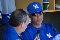 Kentucky Wildcats head coach Nick Mingione is interviewed by radio play-by-play man Dick Gabriel prior to the game against the North Carolina Tar Heels at Boshmer Stadium on February 17, 2017 in Chapel Hill, North Carolina.  The Tar Heels defeated the Wildcats 3-1.  (Brian Westerholt/Four Seam Images)
