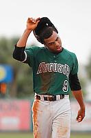 Augusta GreenJackets infielder Cristian Paulino (9) during a game against the Charleston Riverdogs at Joseph P.Riley Jr. Ballpark on April 15, 2015 in Charleston, South Carolina. Charleston defeated Augusta 8-0. (Robert Gurganus/Four Seam Images)