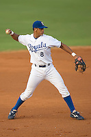Third baseman Fernando Cruz (8) of the Burlington Royals makes a throw to first base at Burlington Athletic Park in Burlington, NC, Saturday, July 26, 2008. (Photo by Brian Westerholt / Four Seam Images)