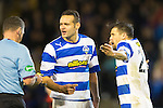 Morton v St Johnstone....30.10.13   Scottish League Cup Quarter Final<br /> Nacho Novo is booked by ref John McKendrick after charging down a free kick by Stevie May<br /> Picture by Graeme Hart.<br /> Copyright Perthshire Picture Agency<br /> Tel: 01738 623350  Mobile: 07990 594431