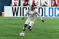 FOXBOROUGH, MA - NOVEMBER 20: Zachary Brault-Guillard #15 of Montreal Impact brings the ball forward during the Audi 2020 MLS Cup Playoffs, Eastern Conference Play-In Round game between Montreal Impact and New England Revolution at Gillette Stadium on November 20, 2020 in Foxborough, Massachusetts.