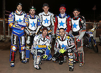 Rico's All Stars line up prior to the meeting - Lakeside Hammers v Rico's All Stars, The Rico Spring Classic at the Arena Essex Raceway, Pufleet - 20/03/15 - MANDATORY CREDIT: Rob Newell/TGSPHOTO - Self billing applies where appropriate - 0845 094 6026 - contact@tgsphoto.co.uk - NO UNPAID USE