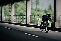 Marcus Burghardt (DEU/BORA-hansgrohe) escaping from the peloton <br /> <br /> Stage 5: Gstaad > Leukerbad (155km)<br /> 82nd Tour de Suisse 2018 (2.UWT)