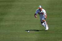 Baltimore Orioles outfielder Ryan Mountcastle (6) fields a ground ball during a Major League Spring Training game against the Philadelphia Phillies on March 12, 2021 at the Ed Smith Stadium in Sarasota, Florida.  (Mike Janes/Four Seam Images)