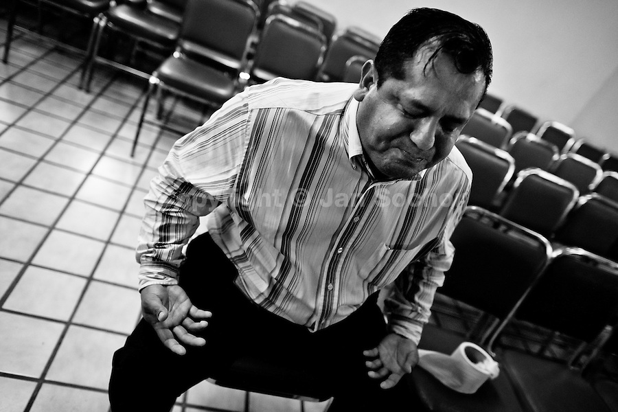 A Mexican man struggles during the exorcism ritual performed at the Church of the Divine Saviour on outskirts of Mexico City, Mexico, 31 May 2011. Exorcism is an ancient religious technique of evicting spirits, generally called demons or evil, from a person which is believed to be possessed. Although the formal catholic rite of exorcism is rarely seen and must be only conducted by a designated priest, there are many Christian pastors and preachers (known as 'exorcistas') performing exorcism and prayers of liberation. Using their strong charisma, special skills and religous formulas, they command the evil spirit to depart a victim's mind and body, usually invoking Jesus Christ or God to intervene in favour of a possessed person.