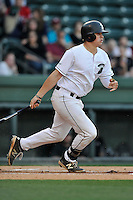 Left fielder J.J. Shimko (9) of the USC Upstate Spartans bats in a game against the South Carolina Gamecocks on Tuesday, March 15, 2016, at Fluor Field at the West End in Greenville, South Carolina. (Tom Priddy/Four Seam Images)