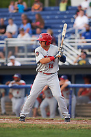 Auburn Doubledays right fielder Kameron Esthay (15) at bat during a game against the Batavia Muckdogs on July 6, 2017 at Dwyer Stadium in Batavia, New York.  Auburn defeated Batavia 4-3.  (Mike Janes/Four Seam Images)