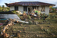 A house in what is left of Poutasi village, 24 hours after the tsunami. More than 170 people died when a tsunami triggered by an 8.3 magnitude earthquake hit Samoa and neighbouring Pacific islands on 29/09/2009. Samoa (formerly known as Western Samoa)..