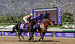 November 1, 2019: Four Wheel Drive, ridden by Irad Ortiz Jr., wins the Breeders' Cup Juvenile Turf Sprint on Breeders' Cup World Championship Friday at Santa Anita Park on November 1, 2019: in Arcadia, California. Casey Phillips/Eclipse Sportswire/CSM