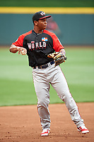 World Team third baseman Rafael Devers (13) during practice before the MLB All-Star Futures Game on July 12, 2015 at Great American Ball Park in Cincinnati, Ohio.  (Mike Janes/Four Seam Images)