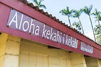 """An """"Aloha kekahi i kekahi (love one another)"""" sign at Honoli'i Beach Park, Hilo, Big Island of Hawai'i."""