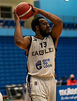Darius Defoe of Newcastle Eagles during the BBL Championship match between Surrey Scorchers and Newcastle Eagles at Surrey Sports Park, Guildford, England on 20 March 2021. Photo by Liam McAvoy.
