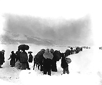 Long trek southward:  Seemingly endless file of Korean refugees slogs through snow outside of Kangnung, blocking withdrawal of ROK I Corps.  January 8, 1951.  Cpl. Walter Calmus. (Army)<br /> NARA FILE #:  111-SC-356475<br /> WAR & CONFLICT BOOK #:  1477