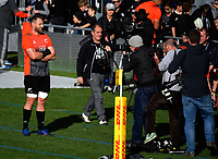 Photographers shoot Kieran Read during the 2017 DHL Lions Series NZ All Blacks captain's run at Eden Park in Auckland, New Zealand on Friday, 7 July 2017. Photo: Dave Lintott / lintottphoto.co.nz