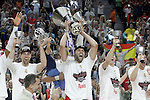 Real Madrid's Felipe Reyes,Andres Nocioni, Jaycee Carroll and Jonas Maciulis celebrate the victory in the Euroleague Final Match in presence of King Felipe VI of Spain. May 15,2015. (ALTERPHOTOS/Acero)