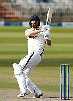 29th May 2021; Emirates Old Trafford, Manchester, Lancashire, England; County Championship Cricket, Lancashire versus Yorkshire, Day 3; Will Fraine of Yorkshire pulls his shot down the leg side