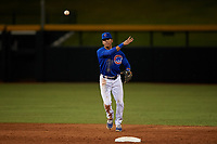 AZL Cubs 1 shortstop Pedro Martinez (11) throws to first base during an Arizona League game against the AZL Angels on June 24, 2019 at Sloan Park in Mesa, Arizona. AZL Cubs 1 defeated the AZL Angels 12-0. (Zachary Lucy / Four Seam Images)