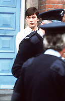 Pix: Copyright Anglia Press Agency/Archived via SWpix.com. The Bamber Killings. August 1985. Murders of Neville and June Bamber, daughter Sheila Caffell and her twin boys. Jeremy Bamber convicted of killings serving life...copyright photograph>>Anglia Press Agency>>07811 267 706>>..Jeremy Bamber, alongside police officers. no date..ref 00010 neg 6 ..