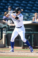 Peoria Javelinas outfielder Lane Adams (19), of the Kansas City Royals organization, during an Arizona Fall League game against the Mesa Solar Sox on October 16, 2013 at Surprise Stadium in Surprise, Arizona.  Mesa defeated Peoria 3-1.  (Mike Janes/Four Seam Images)