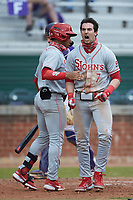 Jake Lazzaro (7) of the St. John's Red Storm celebrates after scoring a run during the game against the Western Carolina Catamounts at Childress Field on March 12, 2021 in Cullowhee, North Carolina. (Brian Westerholt/Four Seam Images)