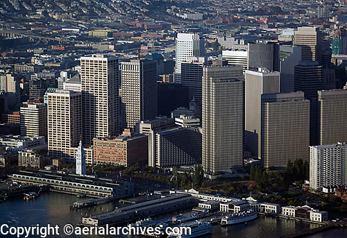 aerial photograph Spear Street Towers Ferry Building One Market Street Embarcadero Center waterfront piers skyscrapers San Francisco